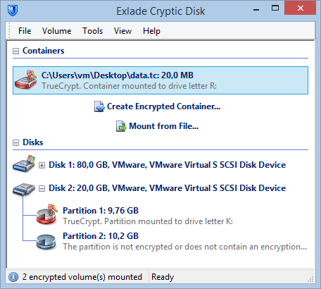TrueCrypt, Cryptic Disk - encrypt files, folders, drives and